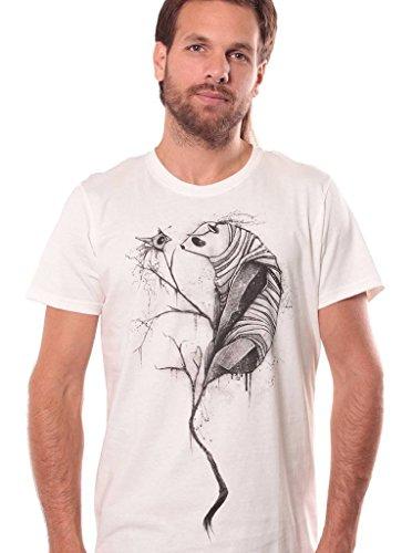 Silk Cotton Crewneck T-shirt - Street Habit Panda Trance Crew Neck Top - Men's Print T-Shirt - Durable Fabric Cotton Top for Men - Silk Printed Urban Clothes in White Dirty - Medium
