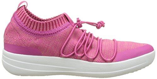 Fitflop Uberknit Slip-On Ghillie Sneakers, Sneaker a Collo Alto Donna Multicolour (Fuchsia/Dusky Pink)