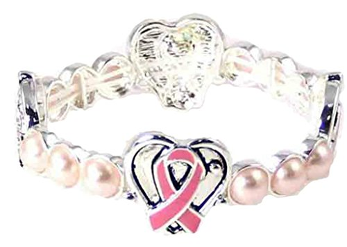 Pearl Breast Cancer Awareness Bracelet - Beautiful Silvertone Breast Cancer Awareness Support Theme (Pink Ribbon) Stretch Pearl Bracelet (with Gift Box)
