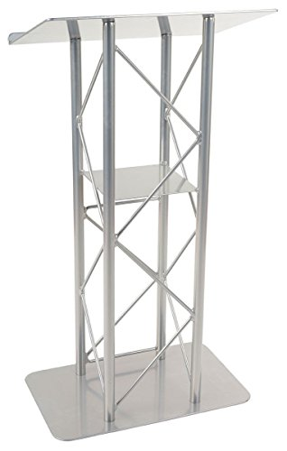 Displays2go 25-Inch Truss Floor Lectern with Interior Shelf Aluminum and Steel - Silver (Steel Lectern)