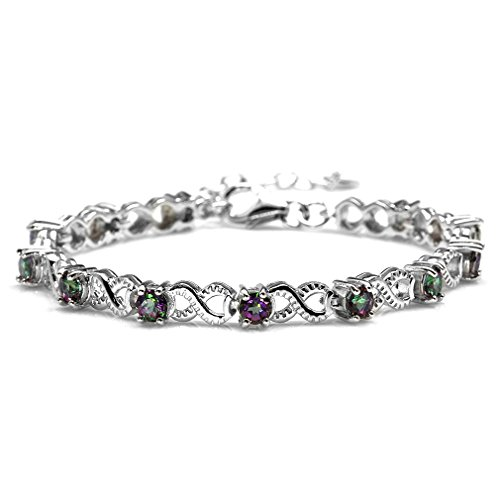 - 3.48ct. Mystic Fire Topaz 925 Sterling Silver Infinity Knot 6.5-8 Adjustable Bracelet