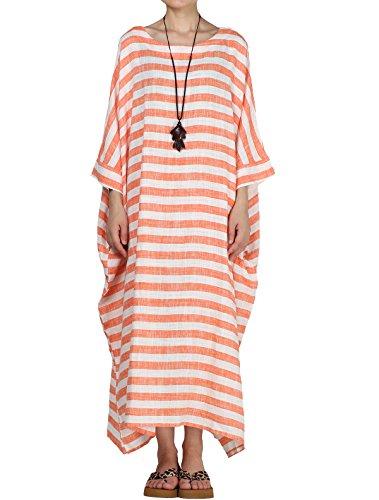 (Mordenmiss Women's Cotton Linen Dress Stripes Plus Size Dresses Style 1-Orange-L)