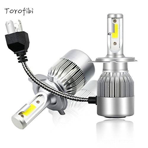 Torofibi LED H4/9003/HB2 LED Headlight Kits-COB Flip Chips/Adjustable Beam-60W 7600LM 6000K-Dual Hi/Lo Beam Bulbs ()