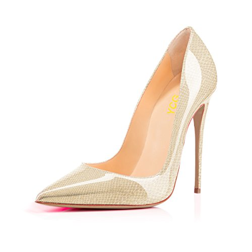YCG Women's High Heels Pumps Snakeskin Printing Manmade Leather Slip on Shoes US 9.5 Light Pink