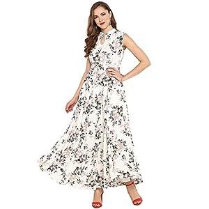 Janasya Women's Rayon Floral Print Flared Gown