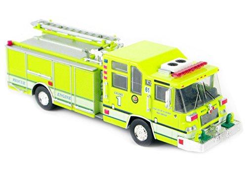 NuoYa001 Hot Yellow Color 1:64 1997 Pierce Quantum Pumper USA Diecast Fire Truck Model -