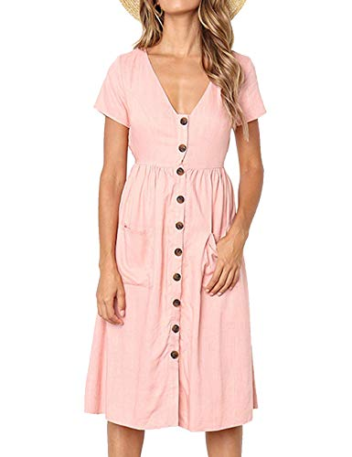 LOMON Womens Pink tee Shirt Dress Tshirt Dress with Pockets mid Length Pink S