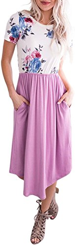 SVALIY Summer Pockets Tunic with Swing Sleeve Purple Women Midi Dress Floral Casual Short r1r5q