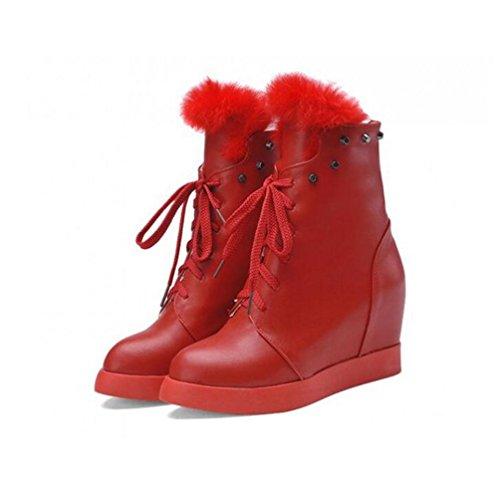 Bottes Nouvelle Chaussures red Lapin Mode Bout Et Hiver Talon Mi Up Bottes BOTXV Rivet Martin Pointu Augmenté Lace Automne Les dans Cheveux Courtes wx8UWSvqF