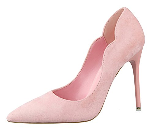 Rally Driver Costume (T&Mates Womens Elegant Sweet Suede Slip-on Pointy Toe Anti-Slip Stiletto High Heel Pumps Shoes (7 B(M)US,Pink))