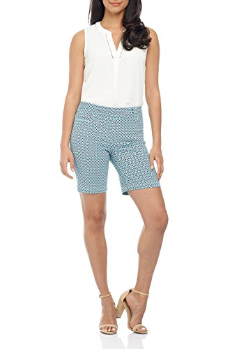 Rekucci Women's Ease in to Comfort Fit Perfection Modern Office Short (8,Navy/Aqua Tile) ()