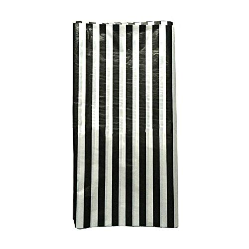 (JINSEY Pack of 3 Plastic Black White Stripe Print Tablecloths - 3 Pack - Party Picnic Table)