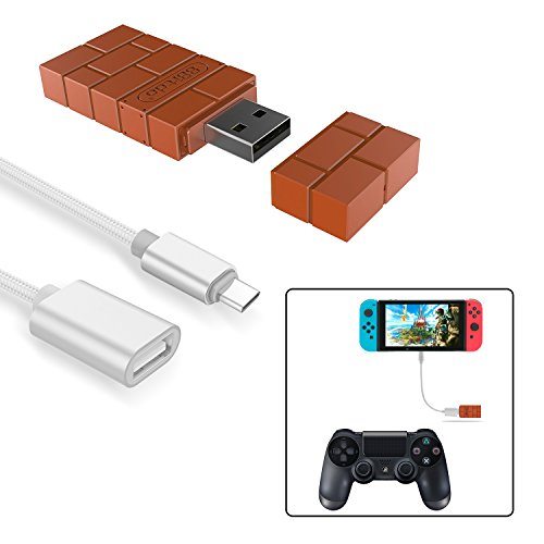 (8Bitdo Wireless Controller Adapter for Nintendo Switch,Windows,Mac & Raspberry Pi with a OTG Cable)