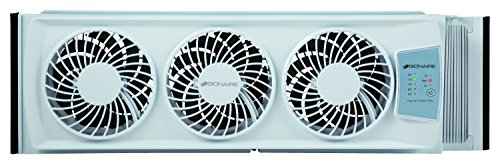 bionaire thin window fan with digital thermostat, 27.1-inch width, white (bwf0502e-wu)