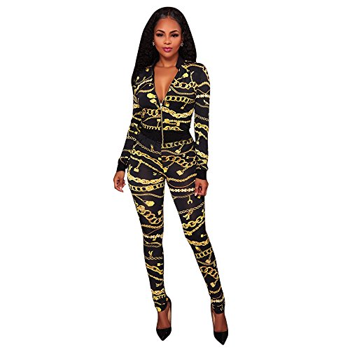 Two Piece Outfits For Women Floral Print Long Sleeve Jacket Suit Bodycon Stretch Long Pants Sweatsuits (XL)
