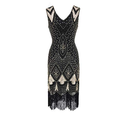 Dresses for Womens, FORUU Ladies Sales 2019 Winter Warm Under 10 Best Gift for Girlfriend Women Vintage 1920s Bead Fringe Sequin Embellished Party Flapper Gatsby Dress ()