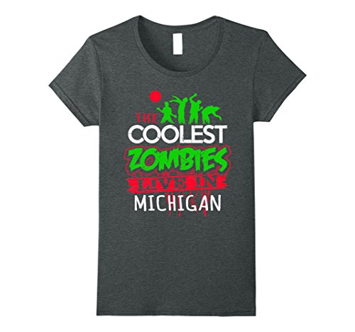[Womens The Coolest Zombies Live in Michigan Halloween T-Shirt Medium Dark Heather] (Halloween Parties In Michigan)