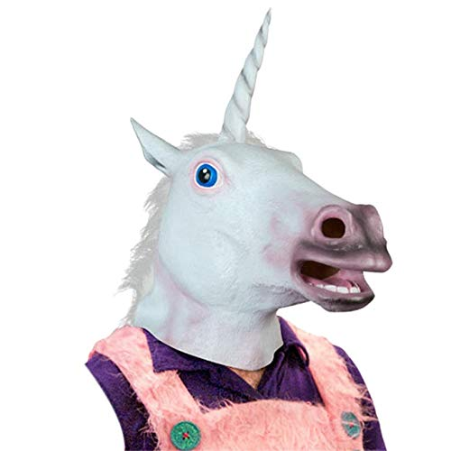 1 piece Accoutrements Magical Unicorn Mask Halloween Mask Latex Animal Costume Prop Gangnam Style Toys -