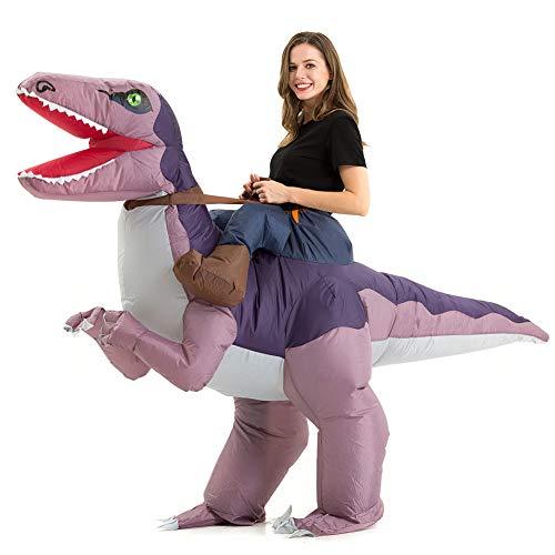 T Rex Costumes (Hsctek Inflatable Velociraptor Costume Adults, Halloween Inflatable Dinosaur Costume for Adults, Blow Up Dinosaur Costume for Women)