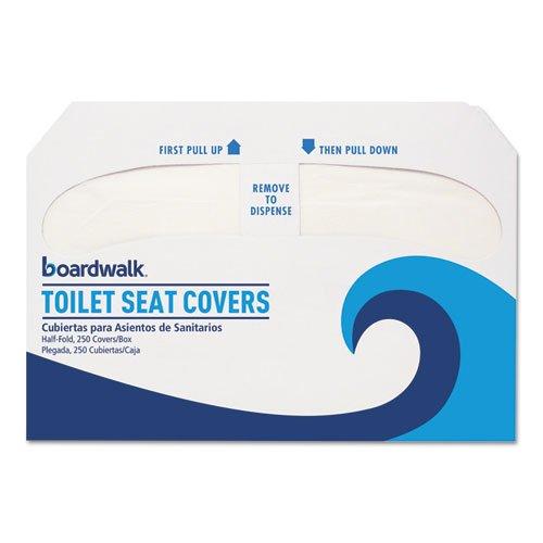 Boardwalk Premium Half-Fold Toilet Seat Covers, White, Paper (250 Covers/Pack) (10 Packs) - BMC-BWK K2500