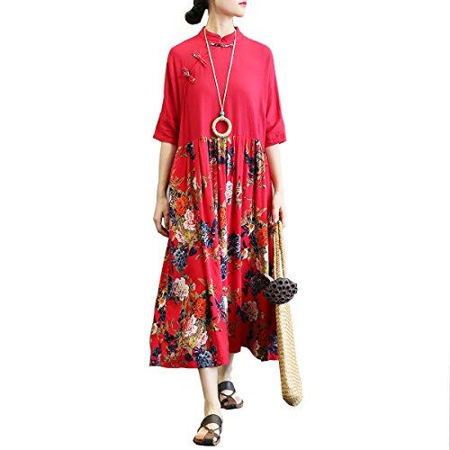 西ランデブー考古学的なレディース 綿麻 チャイナドレス ワンピース 七分袖  ドレス ロング丈 無地 民族風 ナチュラル ゆったり 体型カバー カジュアル フォーマル 復古  フリーサイズ