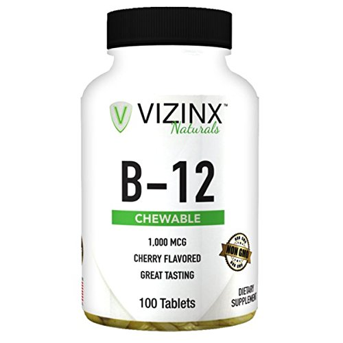 VIZINX B-12 1,000 MCG Cherry Flavored 100 Tablets, Provides Energy, Concentration, And Mental Clarity. Non GMO. For Sale
