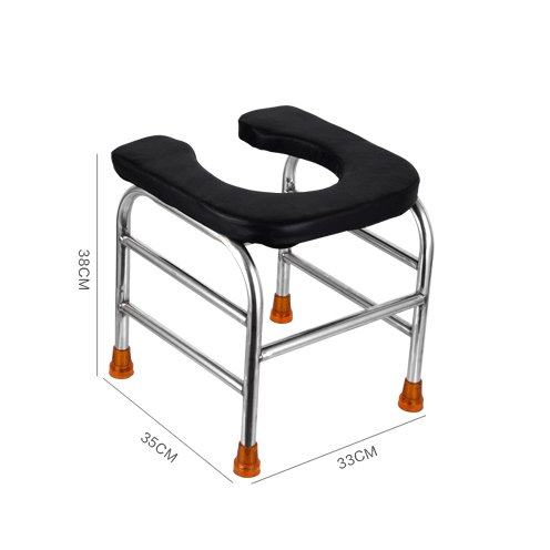 GFYWZ U-Type Toilet Sit Stool, Stainless Steel Mobile Anti-Skid Toilet Seat For Bedside Pregnant Old People Patient Bath Stool,L