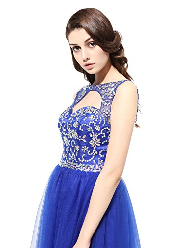 Beads 2016 Long Blue With Tulle DRESSTELLS Scoop Royal Gowns Evening Dress Party Prom 6RqwvvSH