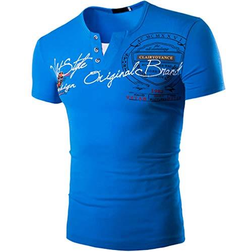 YKARITIANNA Fashion Mens Letter Button Personality Shirt Short Sleeve T-Shirt Blouse -