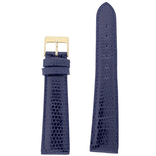 Blue Lizard Strap (Watch band Genuine Lizard Navy Blue 16mm)
