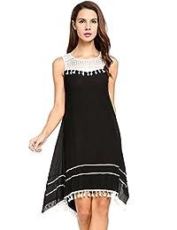 ACEVOG Women's Casual Loose Boho Lace Tassel Dress Irregular Hem Party Dresses