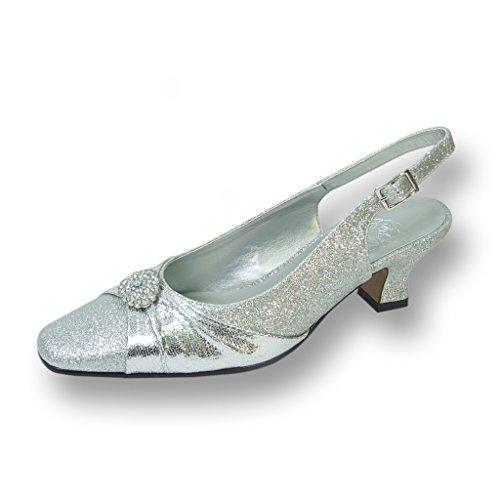FIC FLORAL Elaine Women Wide Width Evening Dress Shoe for Wedding, Prom, and Dinner