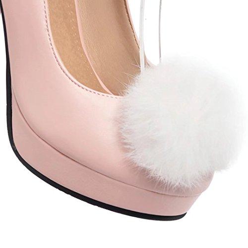 AIYOUMEI Damen High Heels Knöchelriemchen Pumps mit Schnalle und Perlen Abend Schuhe Rosa