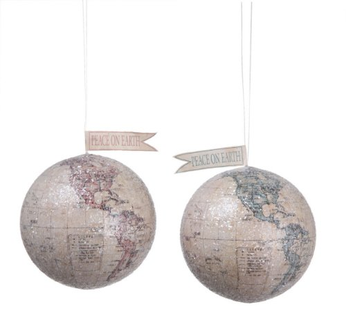 Creative Co-op Peace on Earth World Ornaments, Set of 2 ()