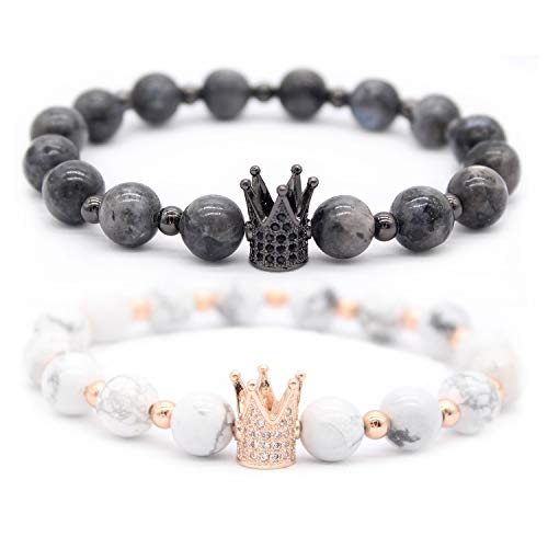 Anime Couples Black And White (Gemfeel 8mm Black Labradorite & White Howlite CZ Her King/His Queen 8mm Beads Couple Bracelet,)