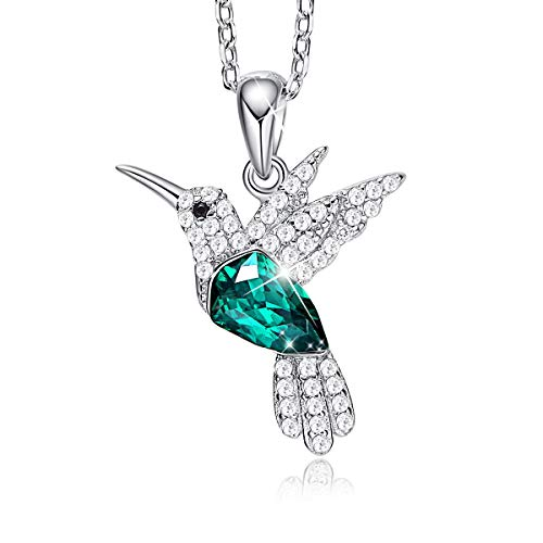 CDE Hummingbird S925 Sterling Silver Necklace for Women, Embellished with Crystals from Swarovski Fine Animal Jewelry Necklace Pendant, Gift for Mothers Day (Hummingbird Necklace B)