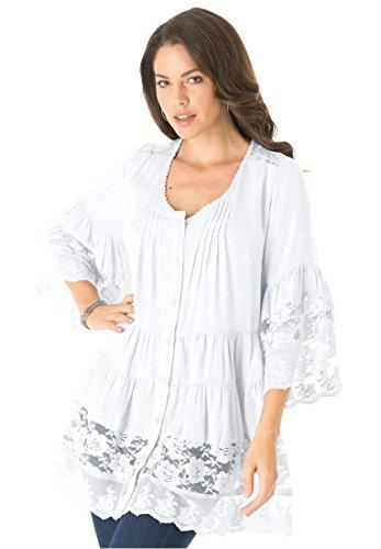 Roamans Women's Plus Size Illusion Lace Bigshirt (White,14 W)