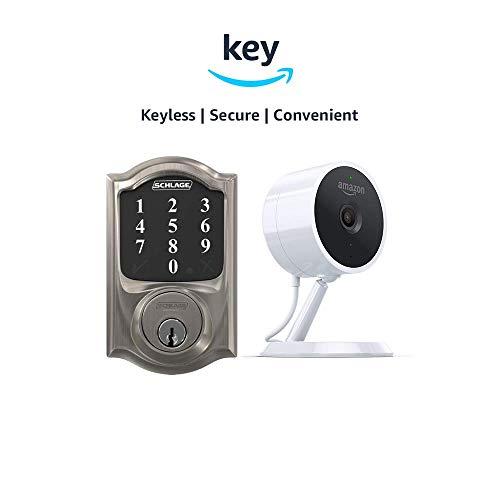 Schlage Connect Zigbee-Certified Smart Deadbolt + Amazon Cloud Cam | Key Smart Lock Kit (Camelot in Satin Nickel)