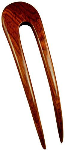 JWL (1) Laos Rosewood Two Prong Curved 4.5 Inch Hair Stick Pick Pic Pin Fork - Hawaiian Style