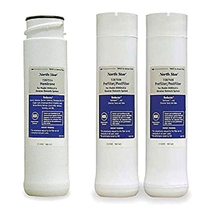 North Star Reverse Osmosis System Filter Replacement Kit - Pre Filter, Post Filter, Reverse Membrane and CR2032 Battery - Bundle (Northstar Water Filter)