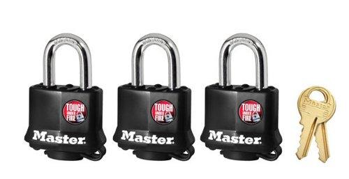 Master Lock 311TRI Keyed Alike Laminated Steel Padlock , 3-Pack - Keyed Alike Colored Padlocks