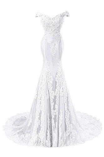 de Mujer Vestidos Baile de Blanco Satín Vestido Sirena JAEDEN Largo Novia Vestido de Noche Encaje F0Uwxdq