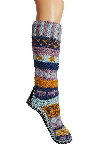 Purple Hand Knit Wool Fleece Lined Long Tibetan Slipper Socks Extra ()