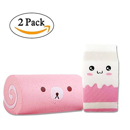 2PC Squishy Slow Rising Milk Box and Swiss Roll Toy, Stress Relief Toy Doll Gift Fun for Baby by Bagvhandbagro [2PC]