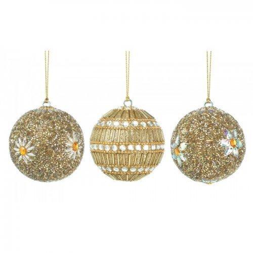 - Christmas Collection 10017587 Golden Beaded Ball Ornament Trio, Multicolor