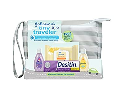 Johnson's Tiny Traveler Baby Gift Set, Baby Bath and Skin Care Essential Products, TSA-Compliant, Hypoallergenic & Paraben-Free (5 Items)