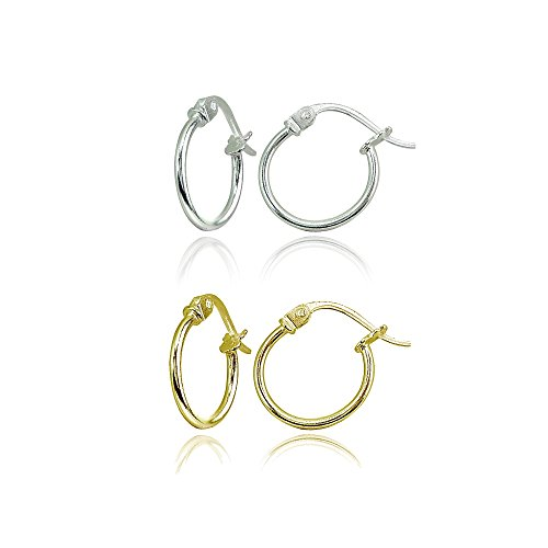 2 Pair Set Sterling Silver & Yellow Gold Flashed Tiny or Small High Polished Round Thin Lightweight Unisex Click-Top Hoop Earrings, Choose a Size
