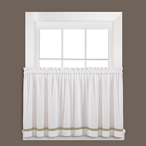 SKL Home Kate Tier Curtain Pair, Sage, 57 inches x 24 inches