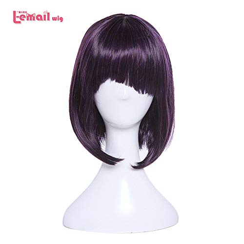 Wig Cosplay Party Costume Soft Synthetic Unisex Purple Black Hot Short Synthetic Hair Perucas -