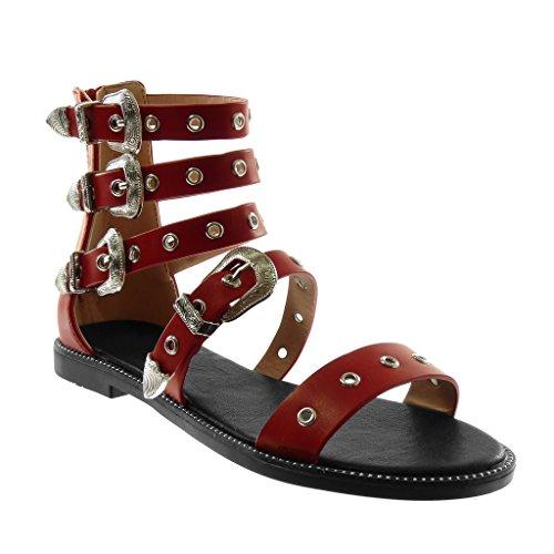Gladiatore Cinturino Alla Donna con Fibbia Sandali Rosso Multi Briglia Angkorly Tacco Moda a Caviglia Perforato cm 1 Scarpe Blocco 5 8tIRnqwYX